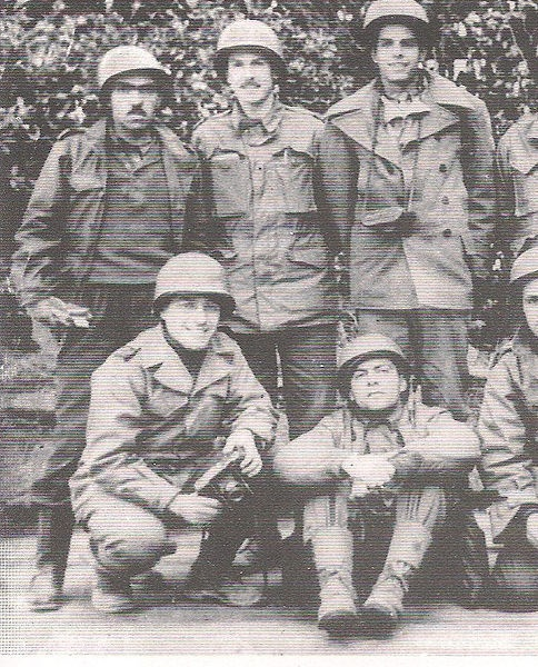 1944. Brazilian soldiers that fought with the Allies in WWII. Standing up on the left, with an impressive moustache, war correspondent and famous short stories writer Rubem Braga.