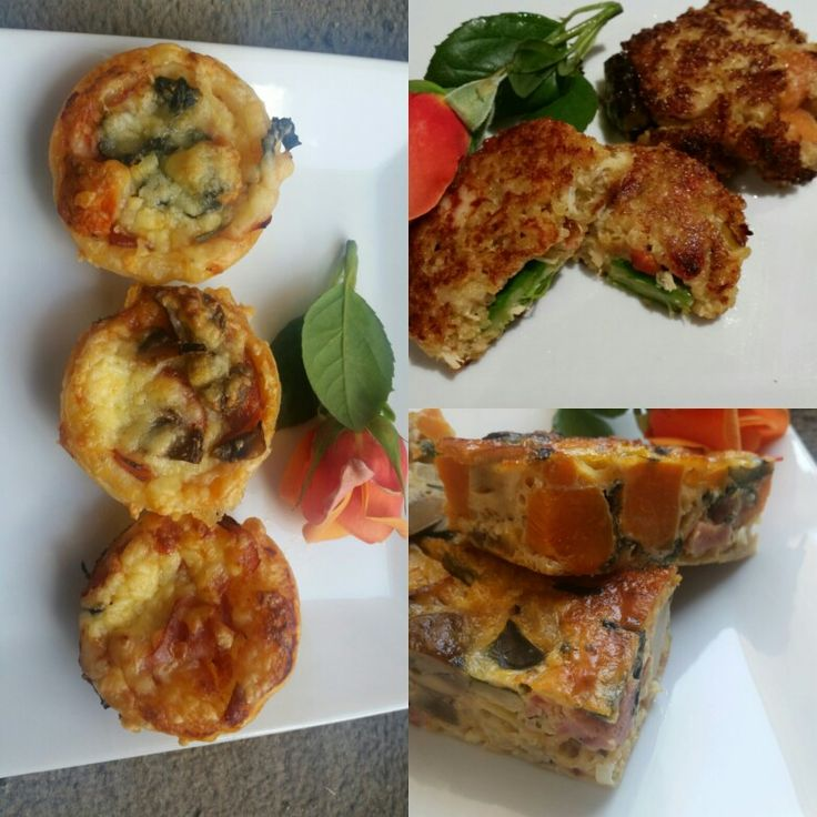 Assorted quiche, kabana and roasted vegetable frittatta and spiced carrot and quinoa patties. Finger food made by Kaitri's Catering. Www.facebook.com/kaitriscatering