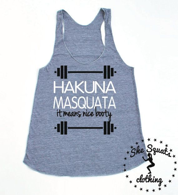 Hakuna Masquata Tank. ladies gym tank top. by SheSquatsClothing