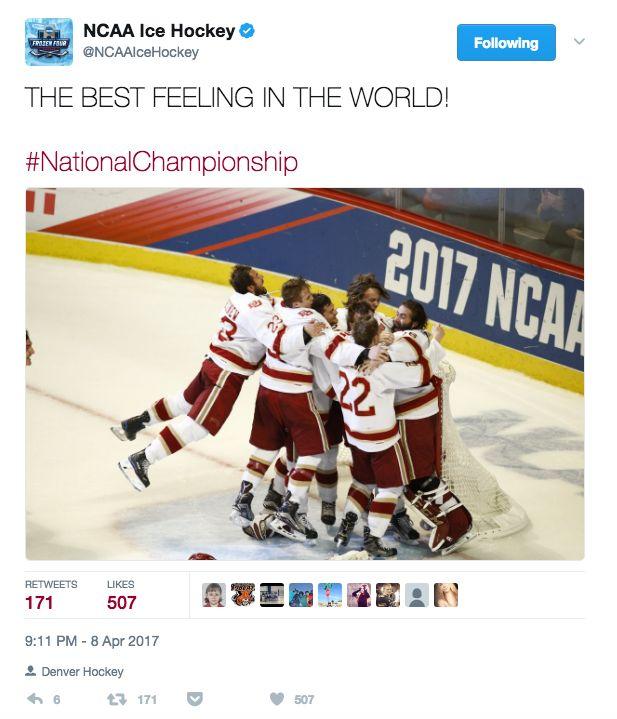 Denver celebrating the 2017 Men's NCAA National Championship.