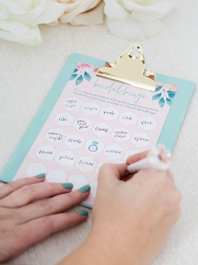 Free printable Bridal Shower Gift Bingo such