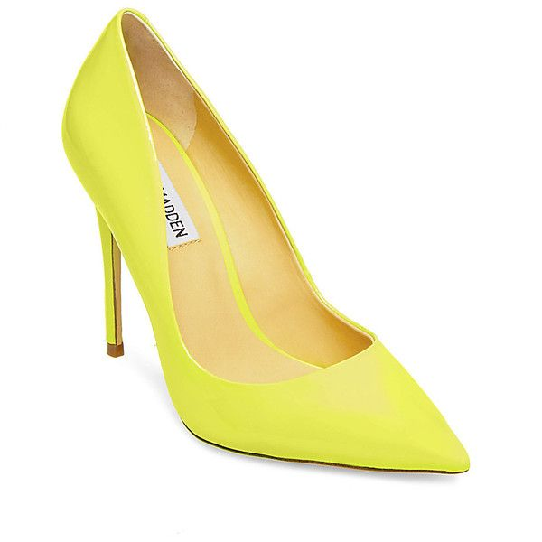 Steve Madden Daisie Pumps ($90) ❤ liked on Polyvore featuring shoes, pumps, yellow, high heel shoes, steve madden shoes, yellow pumps, high heeled footwear and high heel stilettos