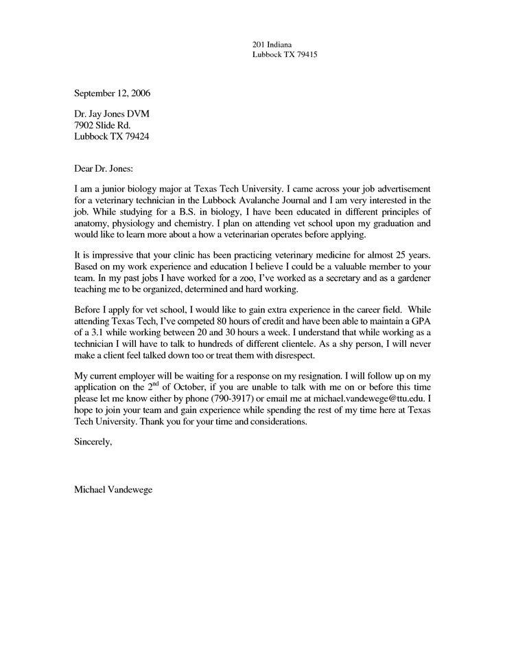 vet tech cover letter sample