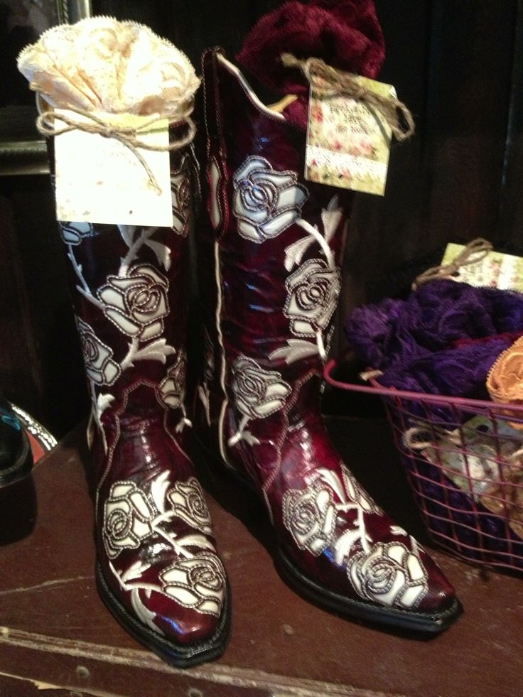 Rosebud Boots | Gorgeous Boots by Bodacious Boot Co. Cherry goatskin leather with cream rose inlay. Snip D toe, soft leather lining and cushion insole. | Lizzie Lee's Boutique - Roanoke, TX