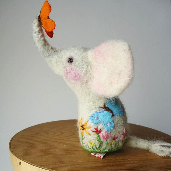 Needle Felted White Elephant  Pin Cushion Handmade by MissBumbles