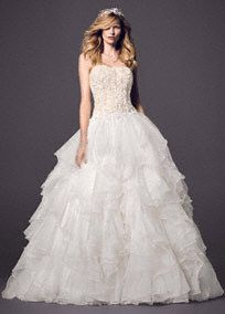 Ball Gown Wedding Dresses - David's Bridal  this waist isn't dropped as much as some but not as ruffled as others either....custom fashion  designer here we come! LOL