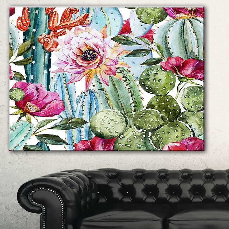 Cactus Pattern Watercolor' Floral Digital Art Print