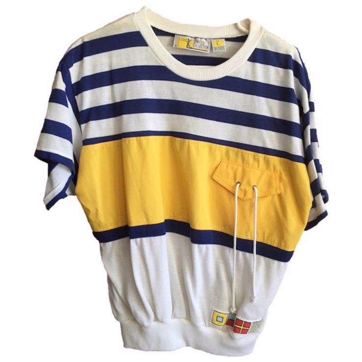 Sailor shirt womens vintage navy white striped color block yellow pocket banded oversized 80's grandpa swag Gitano large poly cotton blend by VELVETMETALVINTAGE on Etsy