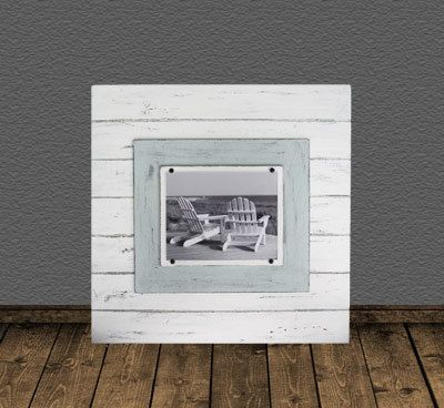 plank frame for an 8x10 photo white and seafoam