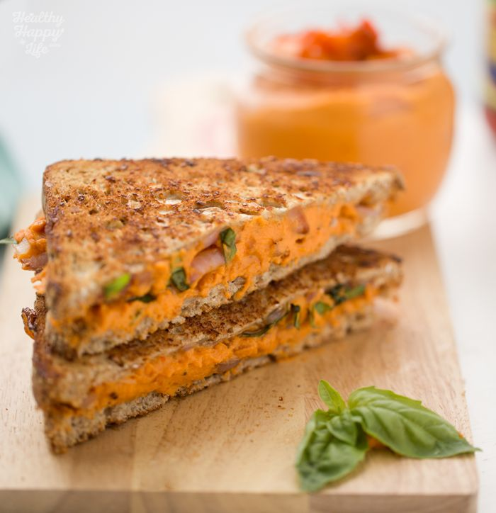 Roasted Pepper Hummus, Basil, Caramelized Onion Skillet Sandwich
