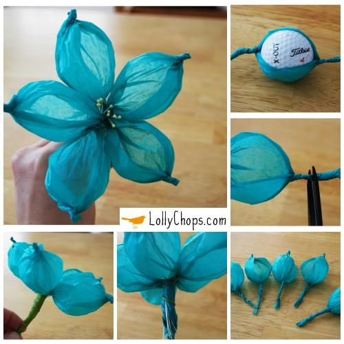 Tissue Paper Flowers Using A Golf Ball