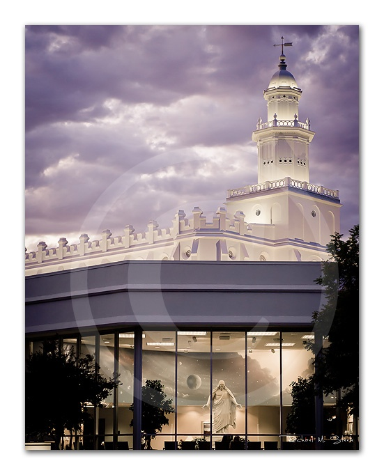 St. George Utah LDS Temple Print Sunset/Dusk with Christus by Steele The Moment Photography