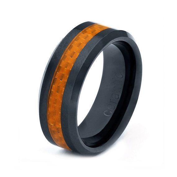 Mens Womens Ceramic Wedding Band Ring 8mm Carbon Fiber Inlay Orange Black 5 15 Half Sizes