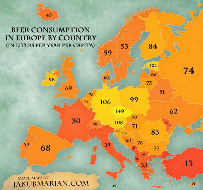 Beer consumption in Europe by country per year per capita (map)