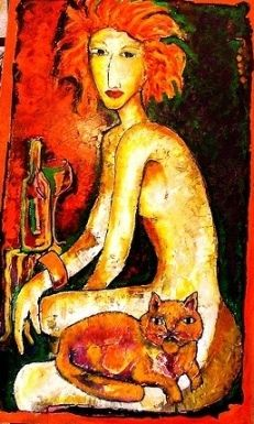 "Laubar ART ""Sexy Catlady - oil on Canvas"""