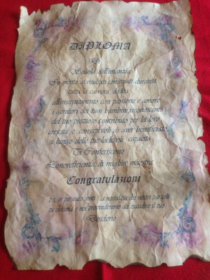 Diploma a pergamenaregalo per pensionamento,antichizzato con caffè, asciugatura in forno caldo