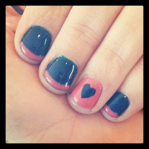 Coral And Navy Blue Nails ♡ My Pinterest Boards