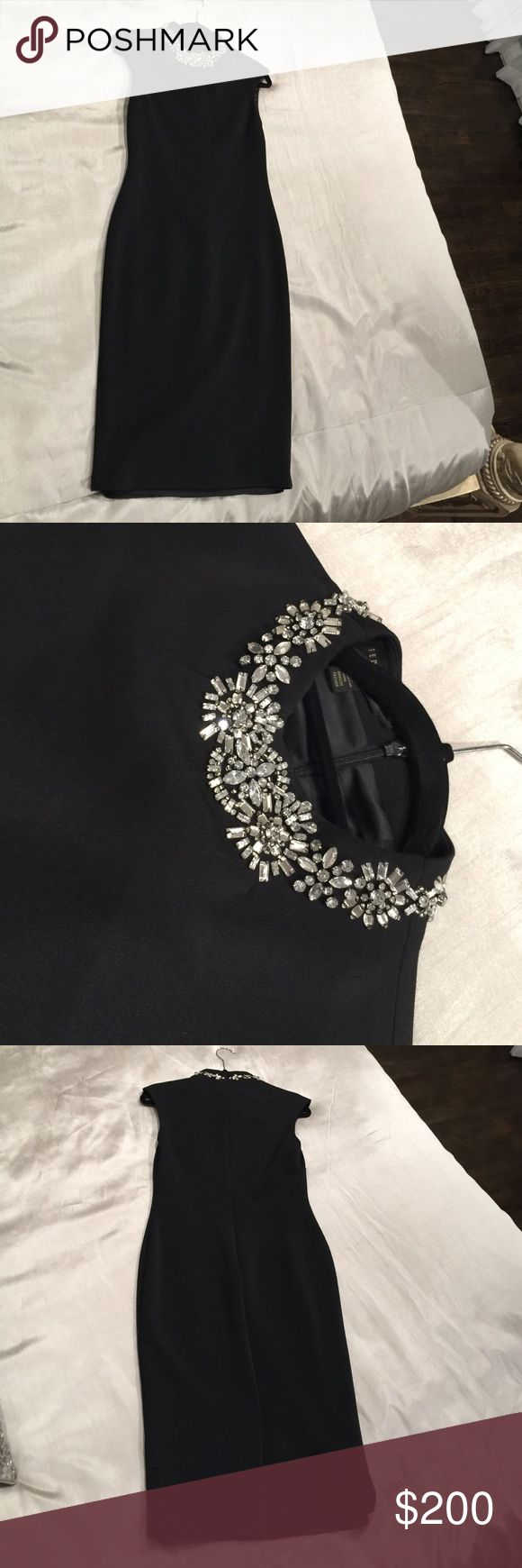 Ted Baker London! Black dress with crystal neck! Ted Baker London! Black dress with crystal neck! Classy dress. Perfect condition Ted Baker London Dresses