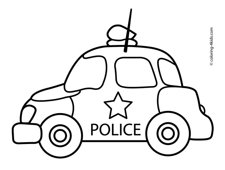 police car transportation coloring pages for kids printable free - Cars Pictures To Color For Kids