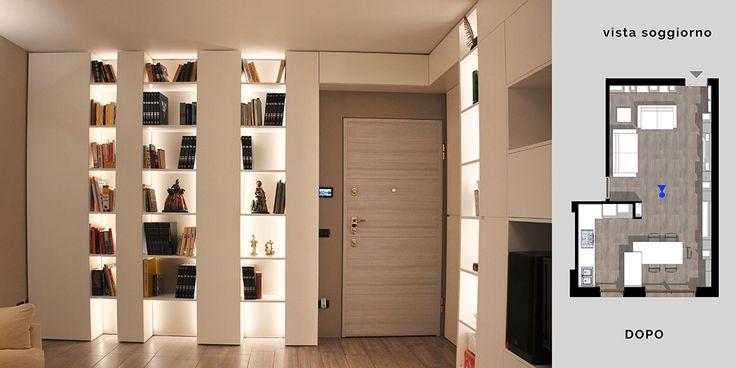 Nuovo Interior e nuovo arredamento per un living a Milano.  Un atteggiamento sartoriale veste di pareti contenitive un'intera zona giorno e cucina-pranzo.