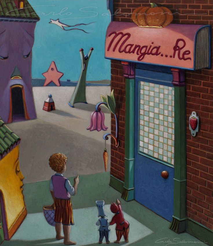 Illustrazione n° 2 -NEGOZIO MANGIA...RE - FOR SALE >>> http://www.saatchiart.com/art/Painting-MANGIA-RE-STORE-by-Mangia-Re/786738/2474532/view  <<<<<    35 x 30 cm - color pencils, acrylics, oil on wood panel - 2006- Carlo salomoni Art - ITALY - All Rights reserved.