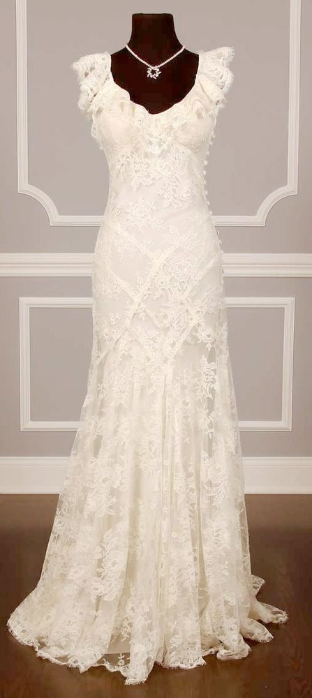 Mermaid Boho Lace Wedding Dress Beach Gown Ivory White Hippie Summer CUSTOM MADE
