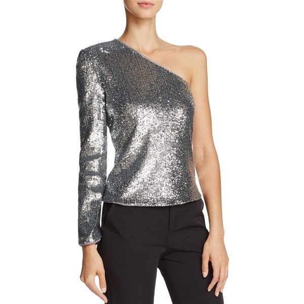Bardot Sequined One-Shoulder Top ($125) ❤ liked on Polyvore featuring tops, silver, one shoulder tops, one shoulder sequin top, silver top, wet look top and bardot top