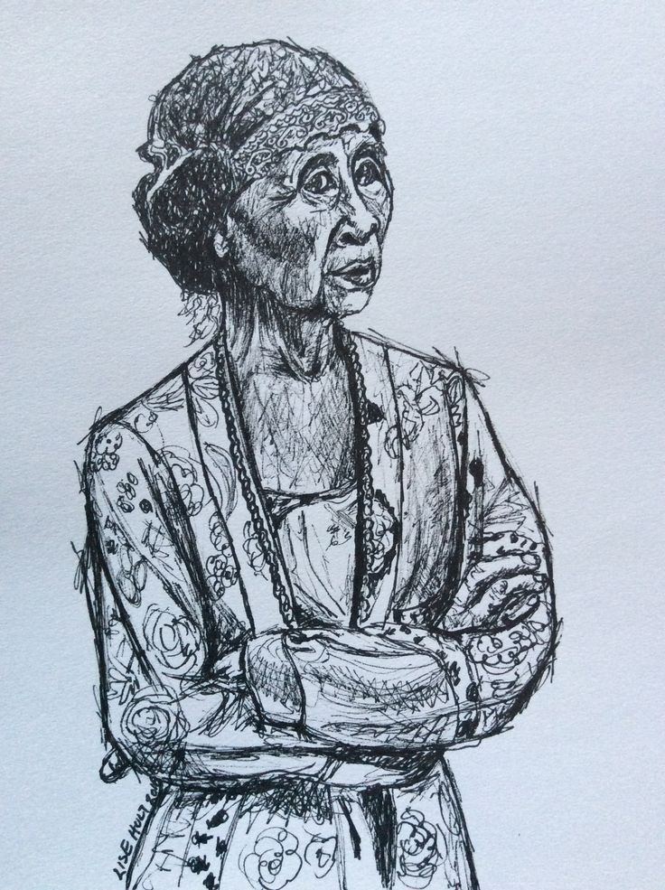 """""""Balinese Woman"""" sketch on paper by Lise Holt Photo credit to Jomoboy Photography"""