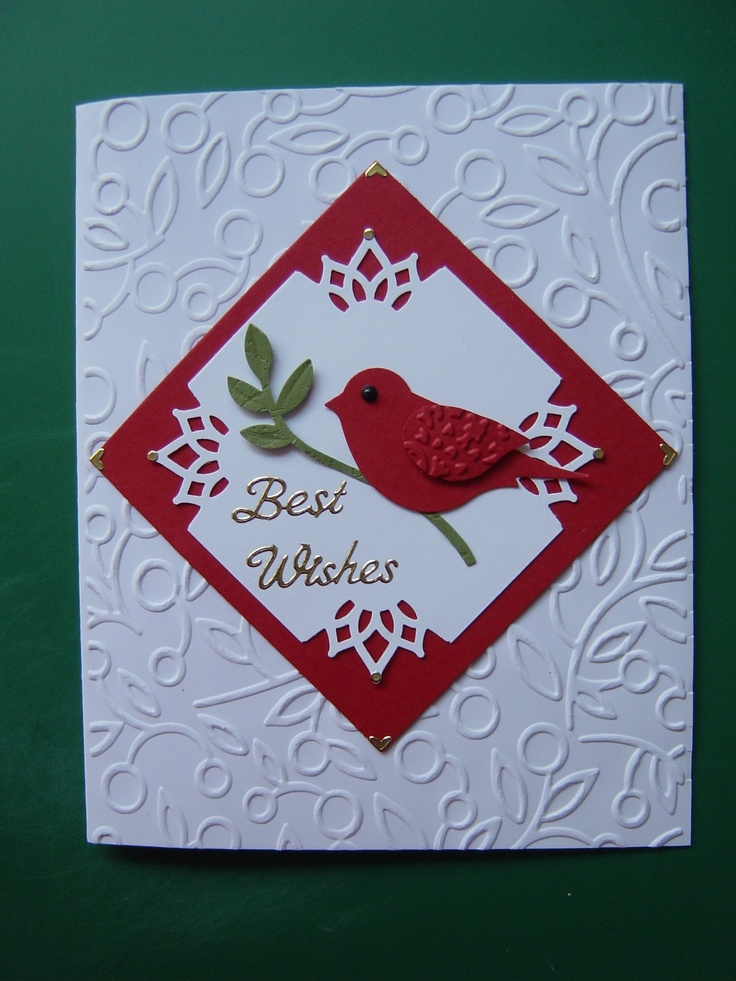 """Couture Creations """"Alora"""" embossing folder, Stampin up Bird Builder punch and Martha Stewart corner punch"""