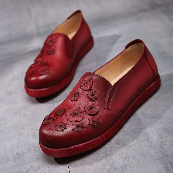 Discount Spring Womens Wine Red Flats Sale Genuine Leather Ladies Slip On Brand Handmade Women Moccasin Shoes Flower Soft Bottom