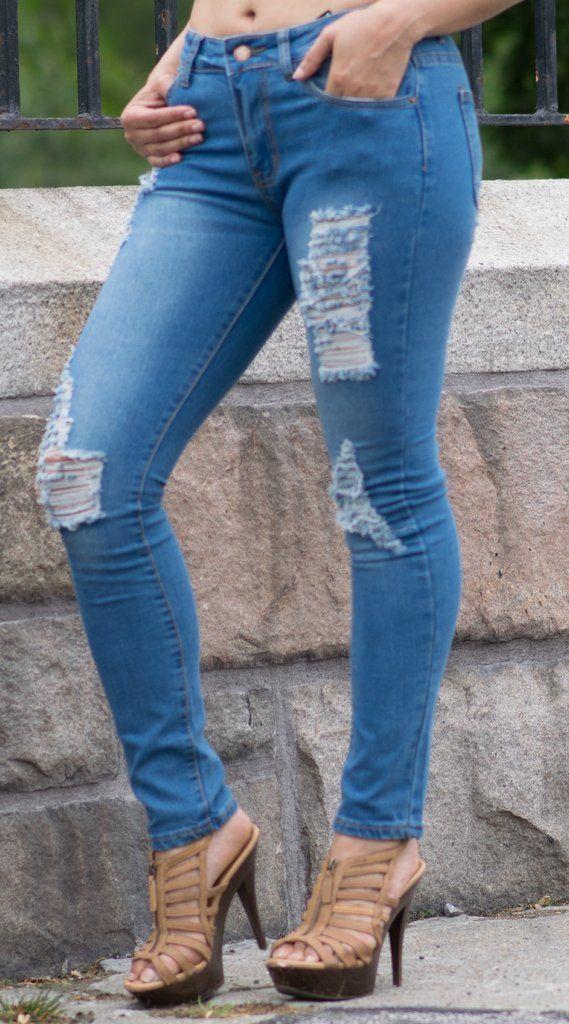 Skinny Distressed Ripped Denim Jeans