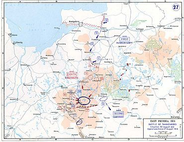 This is a map of the battle of Tannenberg. This battle was fought in August 1914 on the eastern front of France. The battle of Tannenberg was a major defeat for the Russians.