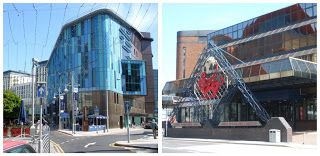 Central libray, la biblioteca di Cardiff (Galles) e l'Arena Internazionale.