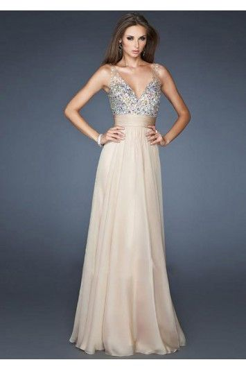 V-neck A-line Beadings Bustband Chiffon Zipper back Prom Dresses £97.99