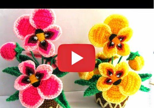 Crochet y Dos agujas: Como tejer flores pensamientos al crochet paso a p...