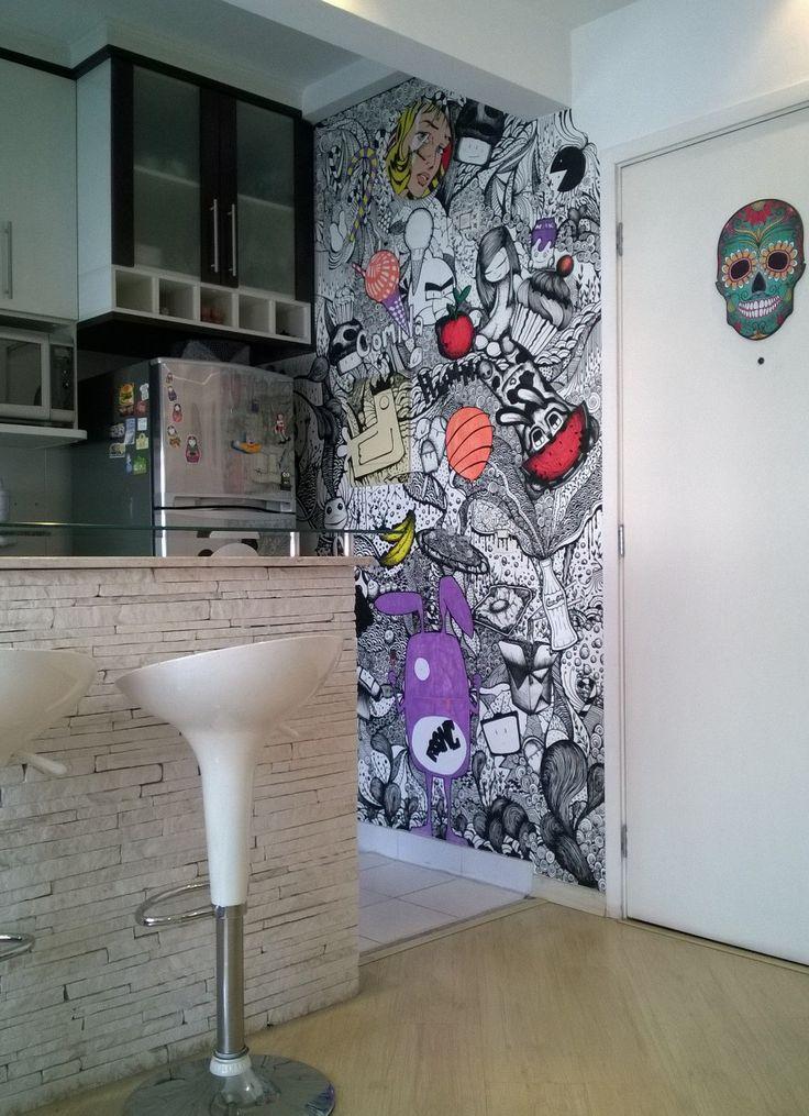 parede desenhada com posca