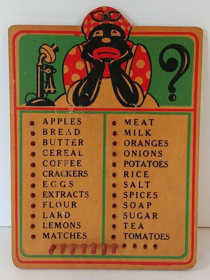 Vintage MAMMY Black Americana Aunt Jemima Wooden Peg Board Kitchen Grocery List