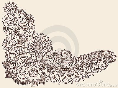 Hand-Drawn Abstract Henna Mandala Mehndi Tattoo Paisley and Henna Border Design Element with Flowers, Swirls, and Leaves- Vector Illustration