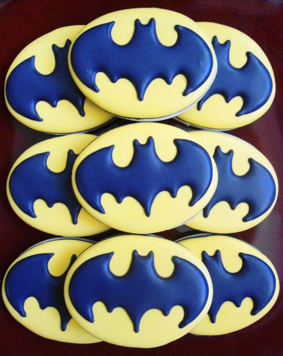Batman Symbol Decorated Sugar Cookies