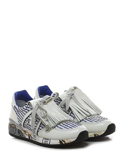 PREMIATA - Sneakers - Donna - Sneaker in pelle e tessuto con pattella frontale con frange e rafia. Suola in gomma, tacco 40, platform 20 con battuta 20. - 1419 IVORY - € 214.00