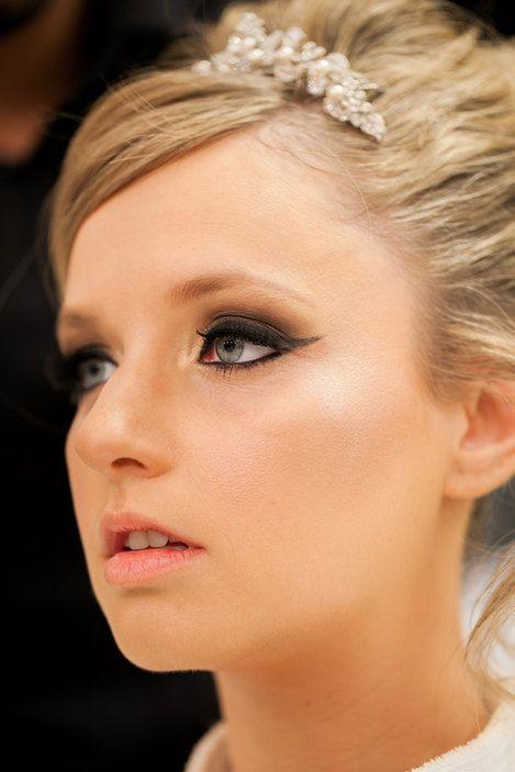 Beautiful bridal makeup with smoky winged eyes