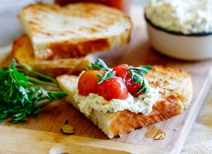 #Marinated Cherry #Tomatoes With Whipped Ricotta On Sourdough 15 Recipes with Ricotta Cheese | All Yummy #Recipes