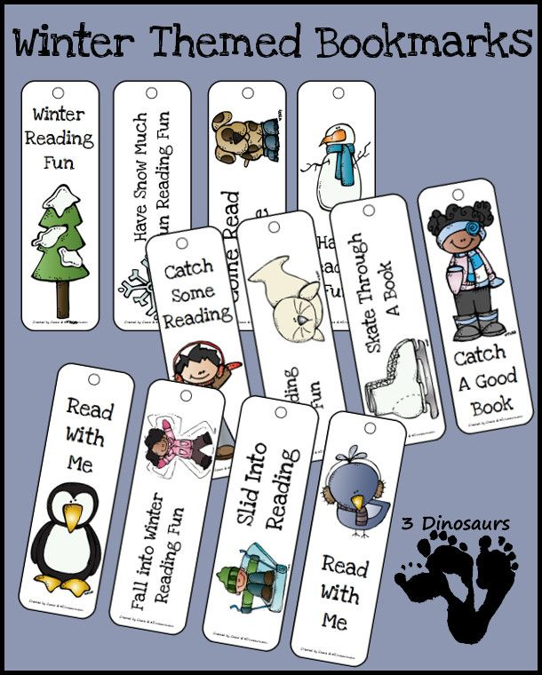FREE Winter Themed Bookmarks