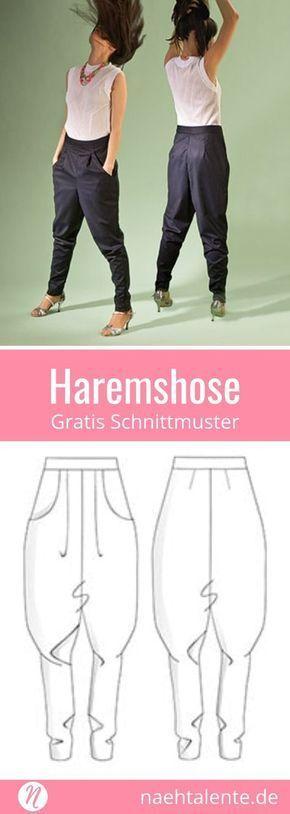 Haremshose für Damen – Gr. 36 – 46 – Kostenloses Schnittmuster