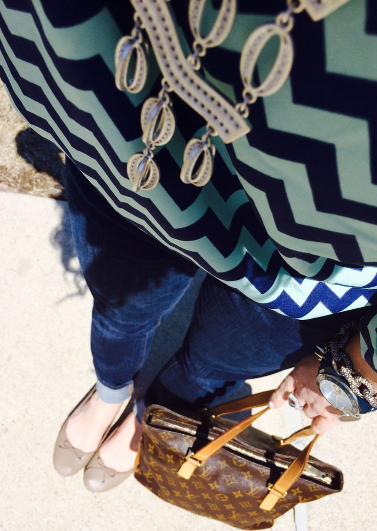 Stella and Dot (Kimberly necklace) Stella and Dot bracelets, Android Watches, J.Crew Pave Bracelet, Louis Vuitton Cabas Piano purse, Francesca's Boutique top, American Eagle Jeans and Old Navy Shoes