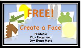 Free Create-a-Face Playdough Mats