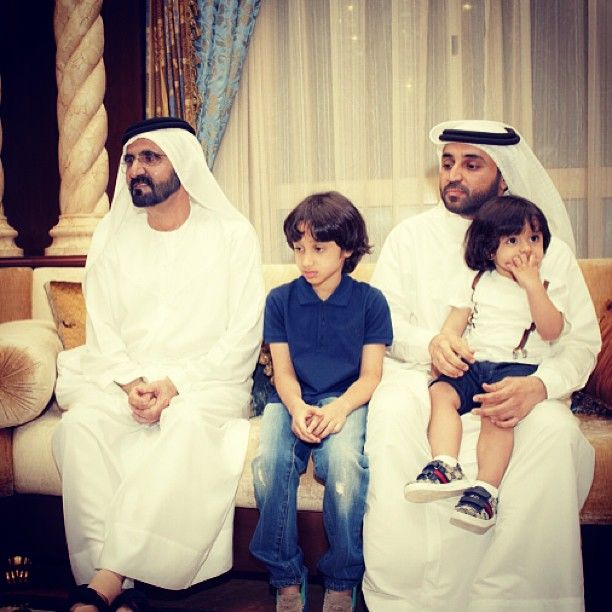 3/2013 Saeed with Sultan, their father--Khalifa Saeed, and Sheikh Mohammed