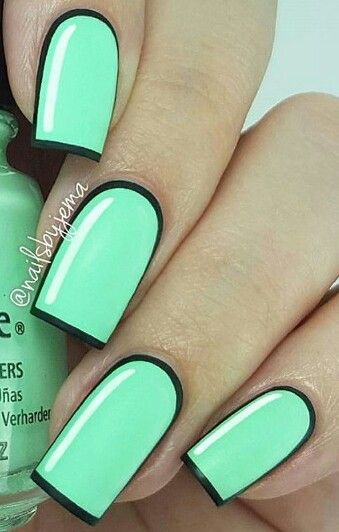 Bright pastel green cartoon nails design @dailynailartpics