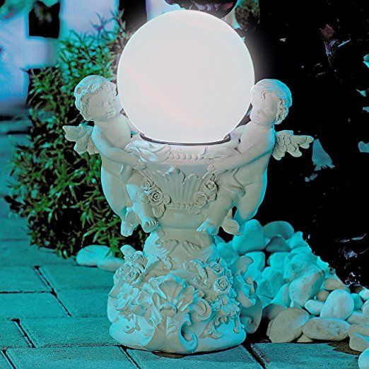Fancy Lunartec Solar Gartendeko Engelsbrunnen mit Solar LED beleuchteter Kugel Grabdekoration