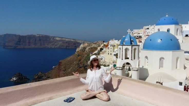 """""""Yoga in #Santorini"""" Courtesy of Audrey B. -Variety Cruises Guest on the M/S Galileo - Jewels of the #Cyclades #cruise 2015 #Travel"""